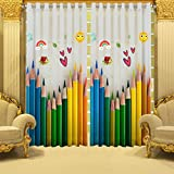#7: B7 CREATIONS Digital Printed Pencil Whiteout Eyelet Window Curtain 1 Piece - 5 Feet, Multicolor