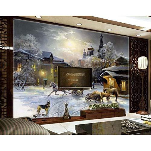 ierte Handgemalte 3D Wallpaper Schneewelt Weihnachten Kinderzimmer Paradise Wand Tv Kulisse-280X200Cm ()