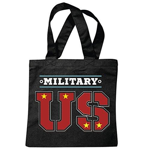 Tasche Umhängetasche US Army - Militär - Rocker - Biker - Gothic - Zivildienst - Wehrdienst Einkaufstasche Schulbeutel Turnbeutel in Schwarz
