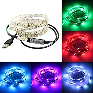 PINKOPINK USB led Backlight, 1.5M 5050 RGB Flexible Water Resistance Light Desktop PC, TV Background Lighting Strip with Remote controller (1.5M)