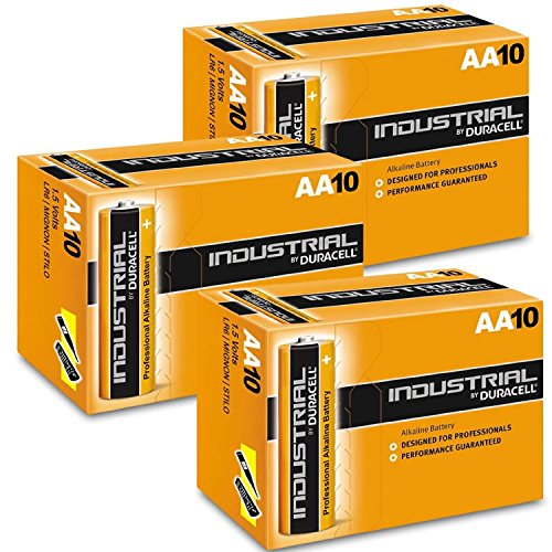 Duracell INDUSTRIAL Battery Alkaline 1.5V AA Ref MN1500 Pack 10, 20, 30, 40, 50 !! (Lot de 30)
