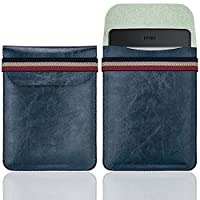 WALNEW 6 Inch Kindle Sleeve - Microfiber leather Lightweight Pouch Case with Elastic Strap Closure for New Kindle, Kindle 4/5, Kindle Touch, Kindle Paperwhite, Kindle Voyage, Dark Blue