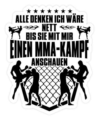 shirt-o-magic Aufkleber MMA: Nett, außer bei MMA-Kampf - Sticker -Einheitsgröße-Weiß -