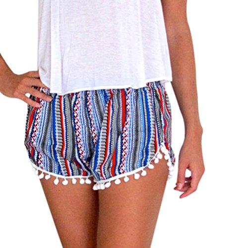 Damen Shorts, SHOBDW Damen Frauen-heiße Hosen-Sommer-beiläufige Kurzschlüsse hohe Taillen-Strand-kurze Hosen (S, Blau) (Weste Gestreifte Blau Royal)