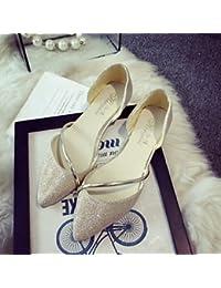 Cómodo y elegante soporte de zapatos de la mujer zapatos Bling talón plano Ballerina/punta Toe Flats oficina y carrera/Fiesta y tarde/vestido plata/oro, plata