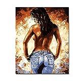 SMENGJIA Quadri su Tela Disegno Donna Sexy a Schiena Nuda Immagini di Body Art Figura Decorazioni per la casa Wall Art-70x90cm Senza Cornice