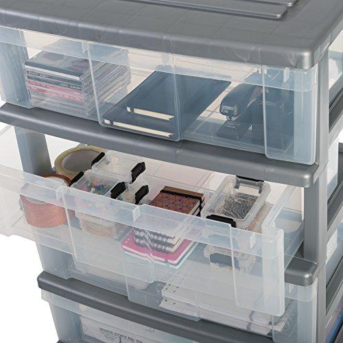 Iris Ohyama, Wide Storage Chest on Wheels – Wide Chest WC-N604 – Plastic, Silver, 4 x 34 L, L60 x W41 x H83 cm