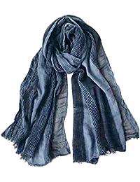 DAMILY Hommes Mode Foulard Echarpe de Plissée Rayée Confortable Coton Lin  Hiver Étoles Châle 007a9c09855