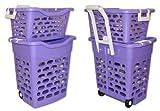 fahrbarer Wäschekorb (lila)