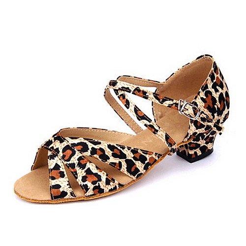 T.T-Q Frauen Kinder Tanzschuhe Satin Low Heel Leopard Latin Sandalen Salsa Jazz Tango Swing Praxis Innen Performance Leopard Satin-heels