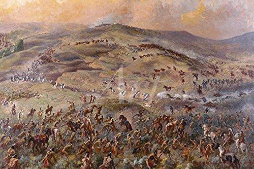 Artland Wandbilder selbstklebend aus Vliesstoff oder Vinyl-Folie Gayle Hoskins Custers letzter Stand Landschaften Berge Illustration Bunt C5FO