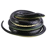 Serpientes de goma,Juguete de jardín de goma en forma de serpiente 130cm negro,inicio jardin truco broma de Halloween Prop.
