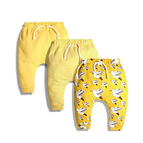 CuteOn 3 Paquete Unisexo Niños Niñito Harén Pantalones Algodón Elástico Pantalones 2