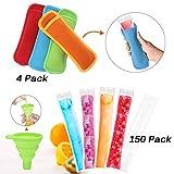 Janolia Kit Ice Pop, Kit per Ghiaccioli Fai Da Te, Contiene 150 Sacchettini Monouso, 1 Imbuto e 4 Proteggi Mani dal Freddo