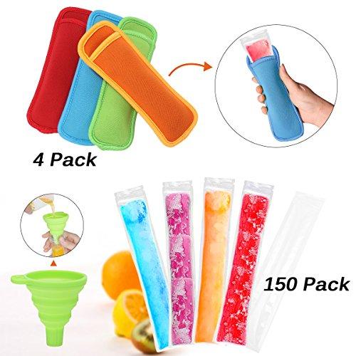 Janolia Eis Popsicle Form Taschen, 150 Stück Ice Pop Taschen mit 4 Stück Eis am Stiel,BPA Free Freezer Tubes mit Zip Seals, Komm mit einem Trichter,für DIY Ice Pop, gesunde, volle Vitamin-Snacks (Stick Form)