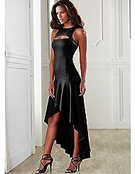 Chicas discotecas costuras en contraste plisaron vestido sin mangas . black . xl