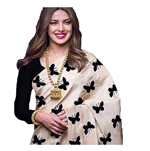 Black and Off-white color Pure Chanderi cotton saree with black color blouse...