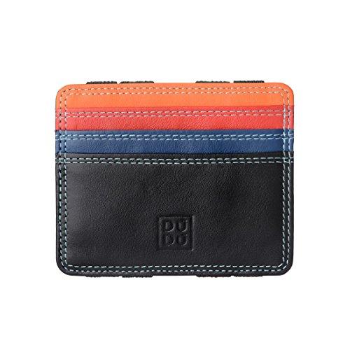 ddf9b4beb DUDU Cartera Magica hombre Piel Napa Magic Wallet coloreado Multicolor con  6 bolsillos para Tarjetas Negro
