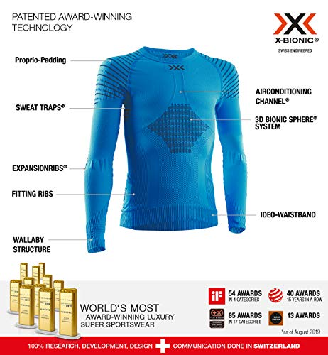 X-Bionic Kinder Invent 4.0 Shirt Round Neck Long Sleeves JUNIOR, Teal Blue/Anthracite, 8/9