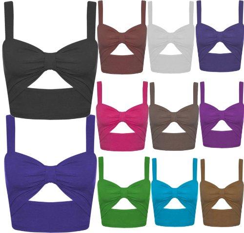 Nouveaux Femmes Découpe Bralet été Mini Vest vêtements de plage Tops 36-42 Light Grey