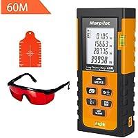 Telémetro Láser HM 60M, Medidor Láser - Morpilot Metro Láser Alta Precisión de ±1.5mm, Placa de Objetivo y Gafas de Protección, Medición de Distancia, Área, Volumen, Pitágoras (Negro y Naranja)