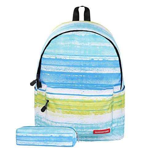 Imagen de artone azul verde raya   escolar acolchada con la caja del lápiz fit 14