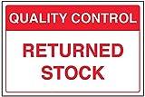 vsafety 75013ba-r Allgemeine Qualitätskontrolle Schild,Lager, starrer Kunststoff zurückgegeben, Landschaft, 300mm x 200mm x 200mm, rot