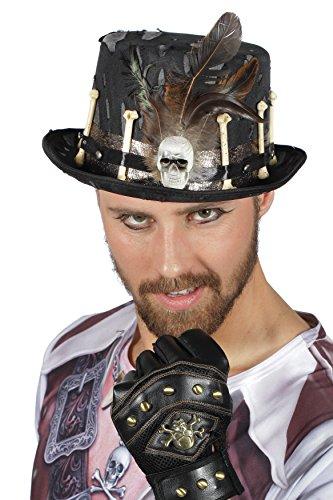 Jannes 9087 Hut Halloween-Zylinder Voodoo mit Knochen und Federn Legba Einheitsgröße Silber-Schwarz