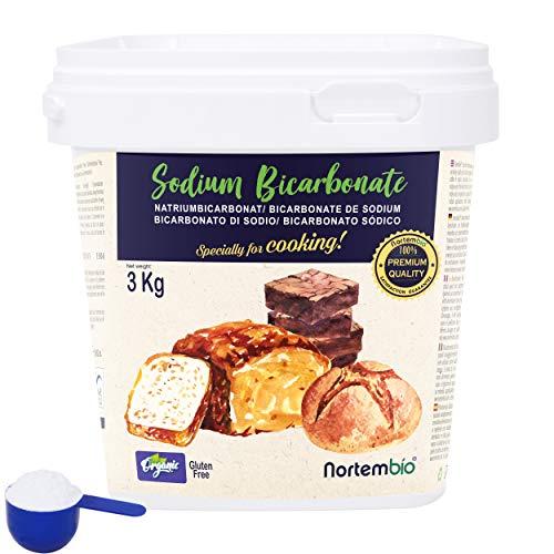 NortemBio Ökologischer Natron Pulver 3 Kg. Natriumbicarbonat, Backpulver, Backsoda. Premium - Lebensmittelqualität. Speziell zum Kochen. E-Book Inklusiv.