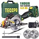 Scie Circulaire sans Fil, TECCPO 18V Scie Circulaire avec Laser, une 4.0Ah Batterie, 1h Chargeur Rapide, 4500RPM, Angle Réglable...