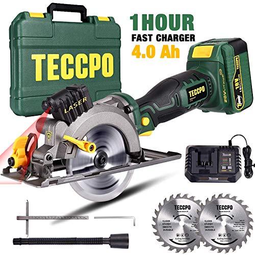 Scie Circulaire sans Fil, TECCPO 18V Scie Circulaire avec Laser, une 4.0Ah Batterie, 1h Chargeur...