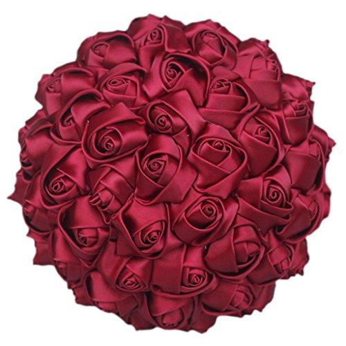 Fouriding semplice colore solido mano in raso di seta rosa damigella d' onore nuziale artificiale mazzo personalizzazione wedding bride holding bouquet di fiori