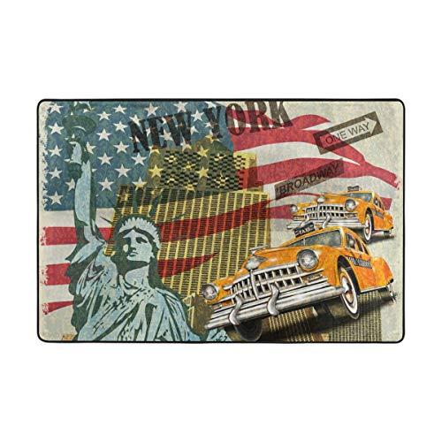 FANTAZIO Fantasazio Teppiche Amerika Freiheitsstatue Flagge und Retro Auto gerader Teppich Gripper für Ecken und Kanten, ideal für Küche/Badezimmer, Polyester, 1, 36 x 24 inch