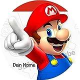 Tortenaufleger Super Mario1 mit Wunschtext / 20 cm Ø