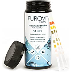 Purovi® Kit de Tiras para Análisis de Agua 10 en 1 | 60 Tiras para Medición de Agua de Piscina, Acuario | Resultado en 30 Segundos | Test PH Cloro Plomo Nitrato Nitrito Hierro Bromo Alcohol y Dureza