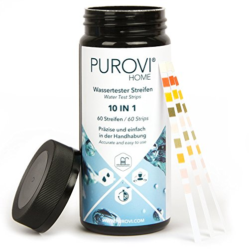 Purovi® Pooltester | Wassertest Streifen für Pool Aquarium Leitungswasser | ph Wert Chlor Blei Nitrat Eisen | 60 Streifen