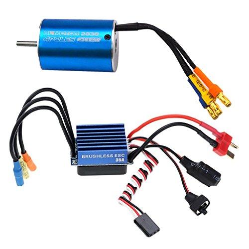 Set Sensorless Brushless Motor 2838 + 35A Bürstenloser Regler Für 1/14 1/16 1/18 Rc Auto