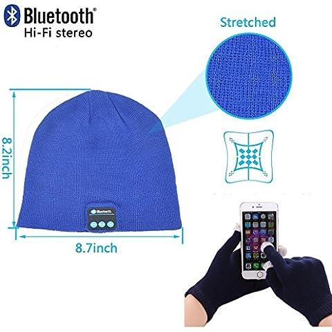 Fone-Case CAT S60 (Blue) Wireless Bluetooth Cappello con Cuffie stereo altoparlante auricolare e vivavoce incorporato e Touchscreen Guanti con 3 dita d'argento a Nylon fibra Consigli