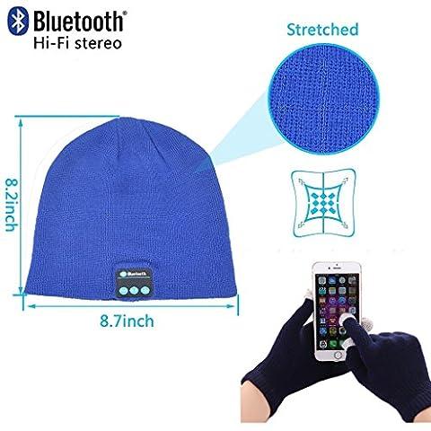 Fone-Case Huawei P8lite ALE-L04 (Blue) Wireless Bluetooth Beanie-Hut mit Stereo-Kopfhörer-Headset-Lautsprecher Hands-Free Eingebaute und Touchscreen-Handschuhe mit 3 Fingern Silber beschichtete Nylon Faser-Spitzen