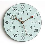YANXUEPING Minimalistische Mode Home Clock, Moderne Stumm, europäischen Stil Quarzuhr,12 Zoll, Farbe Blau