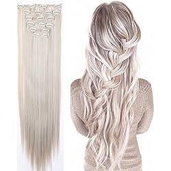 S de noilite 66cm lisa 8piezas Clip en extensiones pelo cabello piezas gris Rubio Mix plata gris