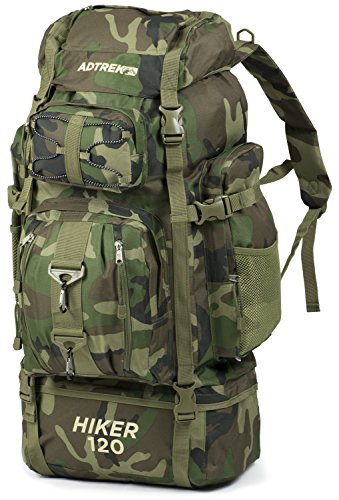 Adtrek Green Camouflage 120L Hiker Backpack Extra Large Hiking/Camping Luggage Rucksack