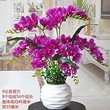 GSLOVEDC Künstliche Blume Orchidee Phalaenopsis Hauptdekoration Topfpflanzen Wohnzimmer Schlafzimmer Lila Gewinde Keramik Vase