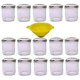 Viva Haushaltswaren - 15 x Marmeladenglas 167 ml mit silberfarbenem Verschluss, runde Sturzgläser als Einmachgläser, Gewürzgläser, Glasdosen etc. verwendbar (inkl. Trichter)