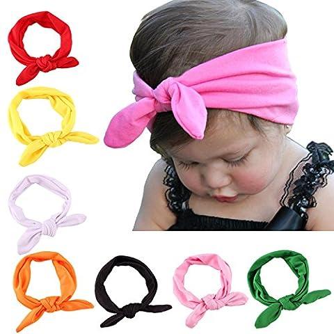 OKPOW® 8Pcs Cute Baby Bowknot Headbands Baby Turban Hairband Knot Rabbit Girls Hair bands for Kids
