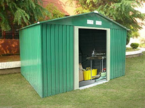Large metal garden shed 10 x 12ft storage unit sliding for Garden shed ventilation