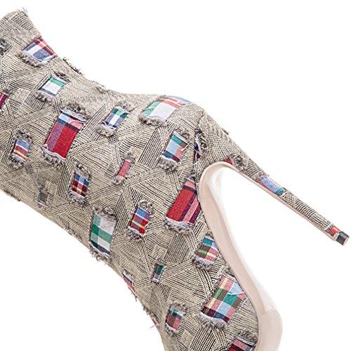 ENMAYER Femmes Chaussures sexy à talons hauts Stiletto Pointed Toe Zipper Western Style Party Dress Shoes Marron Clair