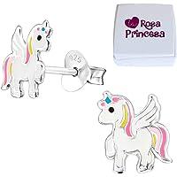 LRP - Magical orecchini per bambini a forma di unicorno, in argento Sterling 925