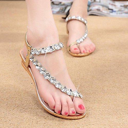 Transer® Damen Flach Sandalen Künstliche PU-Haut, Gummi Sommer Casual Sandelholz Schuh (Bitte achten Sie auf die Größentabelle. Vielen Dank!) Gold
