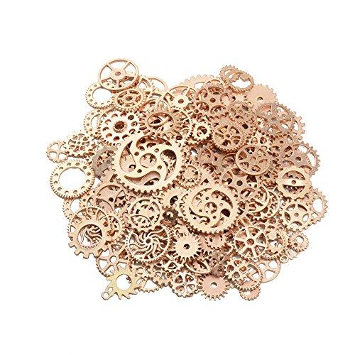 150 grammi assortiti bronzo vintage metallo steampunk creazione di gioielli charms cog ruota di orologio per l'artigianato, cosplay decorazione di halloween (oro rosa)